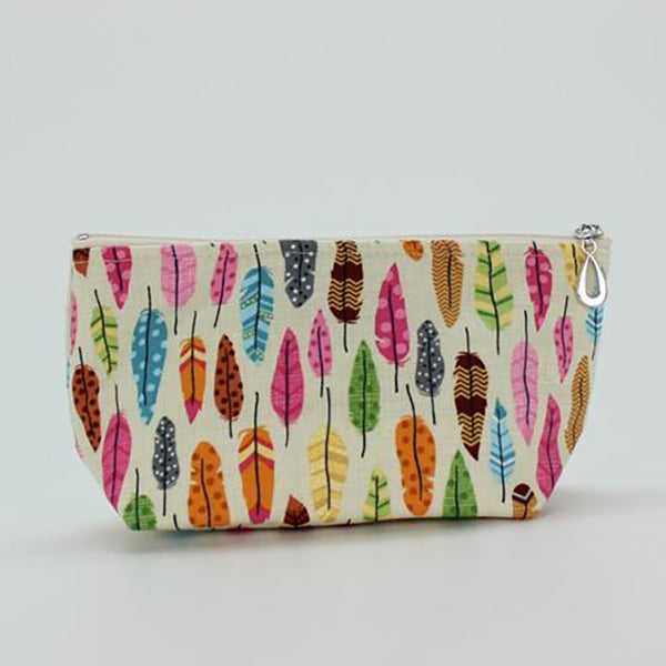 small cosmetic bag feathers by dana herbert