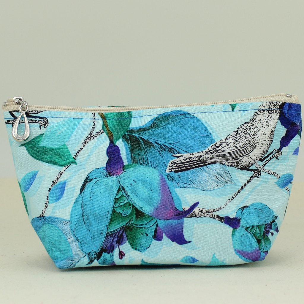 Dana Herbert rose and bird print small cosmetic bag