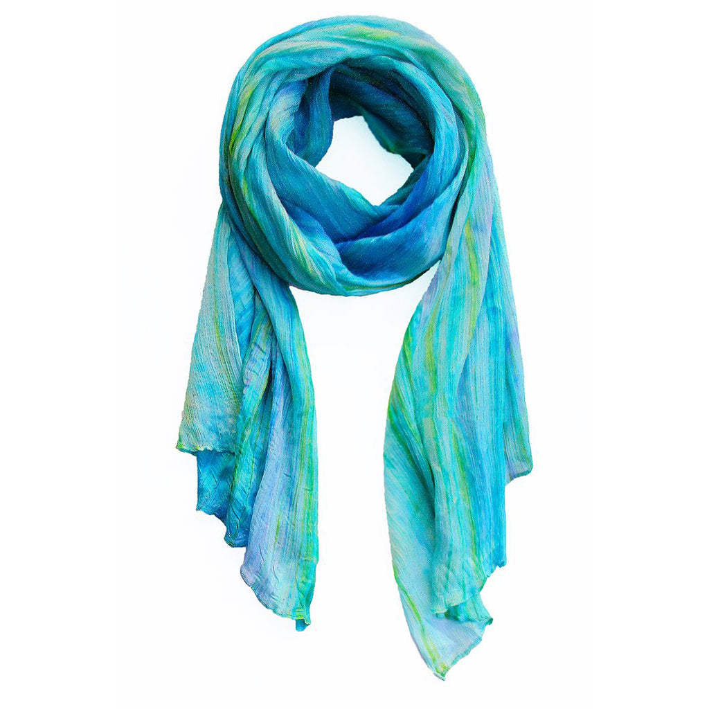 lua watercolor silk scarf light blue-aqua.  hand woven.