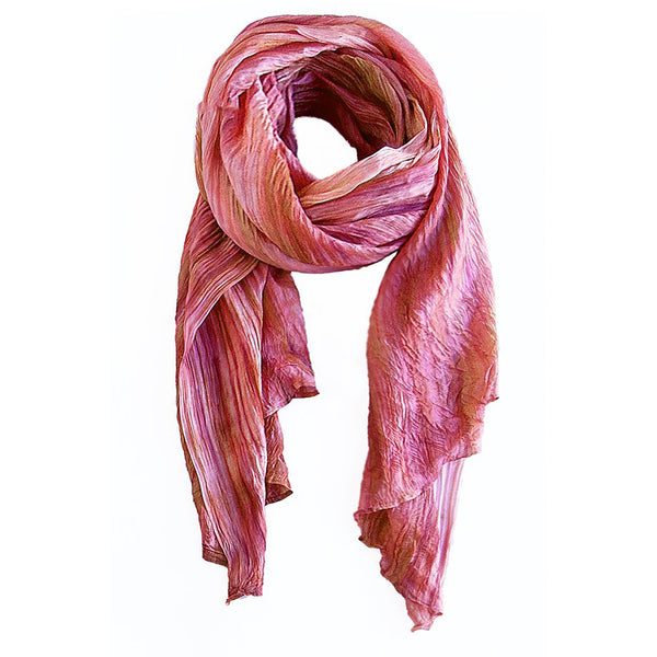 lua watercolor silk scarf blush.  hand woven.