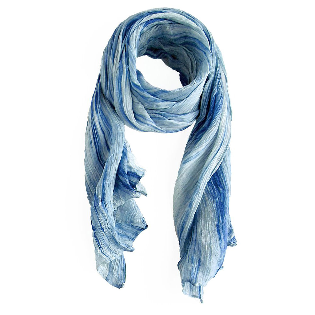 lua watercolor silk scarf washed indigo.  hand woven.