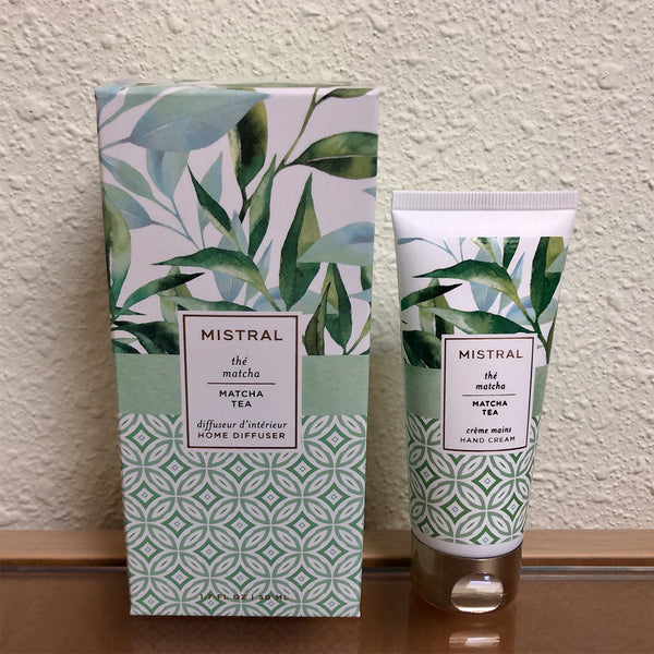 Mistral lotion and diffuser gift set with matcha tea scent