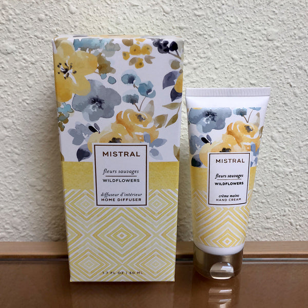 Mistral lotion and diffuser gift set with wildflower scent