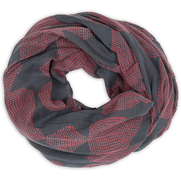 Graymarket  mosa ruby red and blue scarf. 100% cotton. overhead view