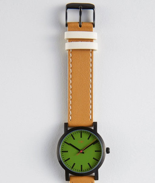Nicolette green camel watch clean, simple classically designed with green face and brown band.