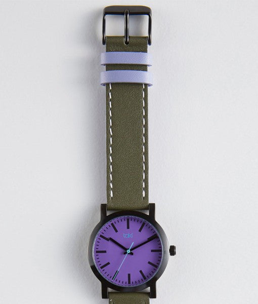 *Nicolette purple olive watch clean, simple classically designed with purple face and olive band.