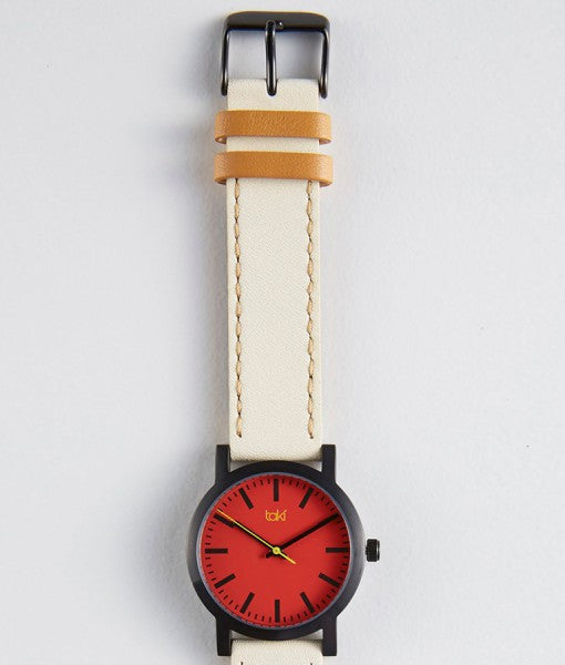 Nicolette red cream watch clean, simple classically designed with red face and cream band.