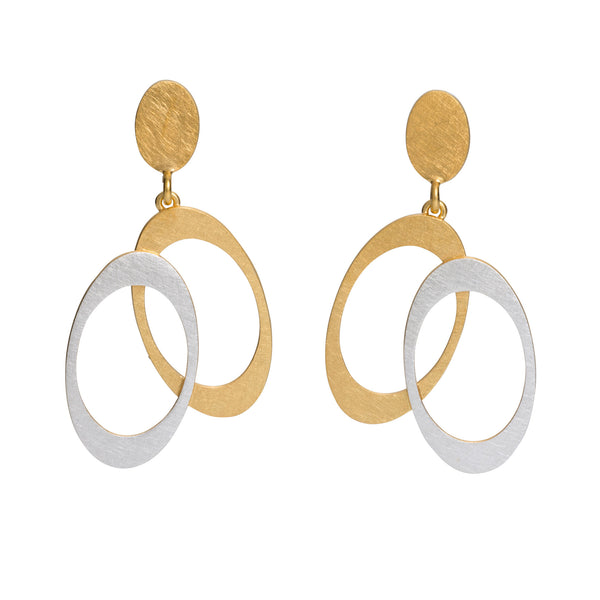 Overlapping oval earrings gold feature contemporary design of sterling silver and gold vermeil.
