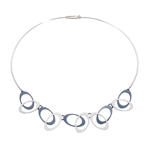 Overlapping ovals necklace silver feature contemporary design of brushed and oxidized sterling silver.