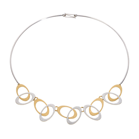 Overlapping ovals necklace gold feature contemporary design of sterling silver and gold vermeil.