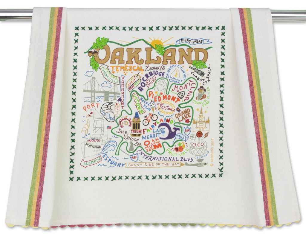 Oakland Towel by Catstudio is an original designed silk-screened and hand embroidered 100% cotton dish towel/hand towel/guest towel/bar towel presented in an organdy re-usable pouch.
