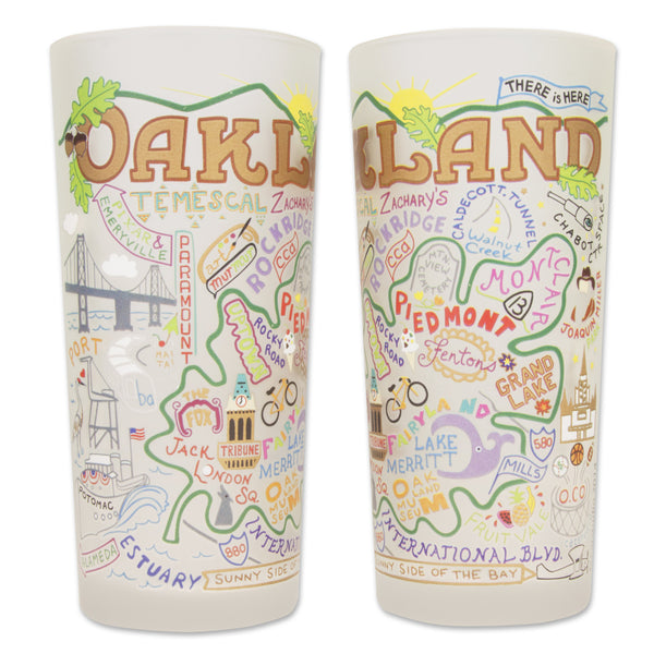 Oakland Glass by Catstudio is an original designed high quality dishwasher-safe fifteen ounce tumbler rendered with vibrant colors that celebrates the city of Oakland, California.