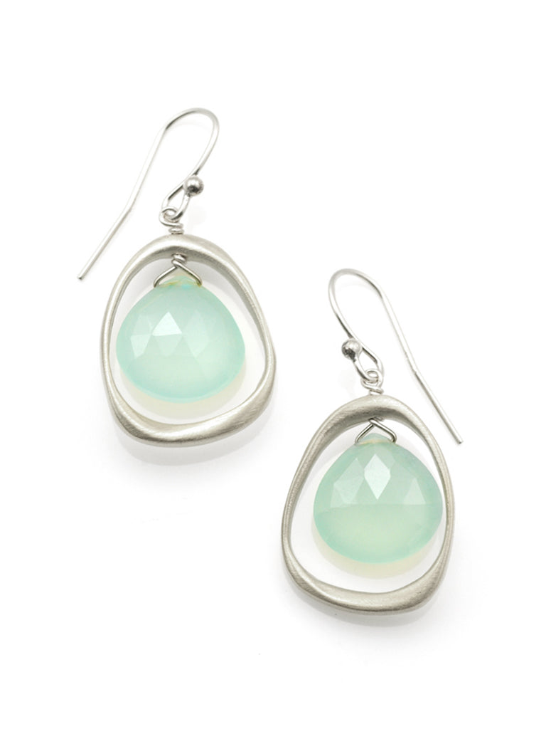 Philippa Roberts sterling silver circle with chalcedony drop earrings