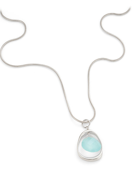 Philippa Roberts sterling silver circle with chalcedony drop necklace