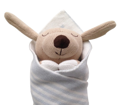 Oscar the dog baby burrito baby gift close up