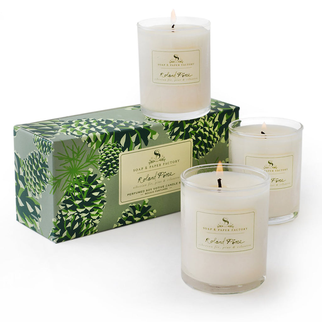 Soap and Paper Factory Roland Pine soy candle trio