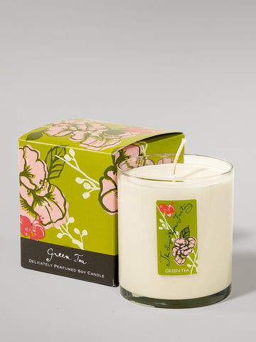 9.5 ounce soy candle green tea is made in the U.S.A. is made in small batches has a fresh and peaceful aroma.