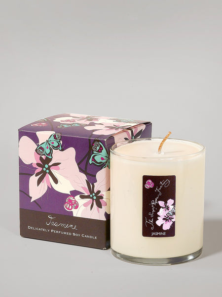 9.5 ounce soy candle jasmine is made in the U.S.A. is made in small batches has a sultry and alluring aroma.