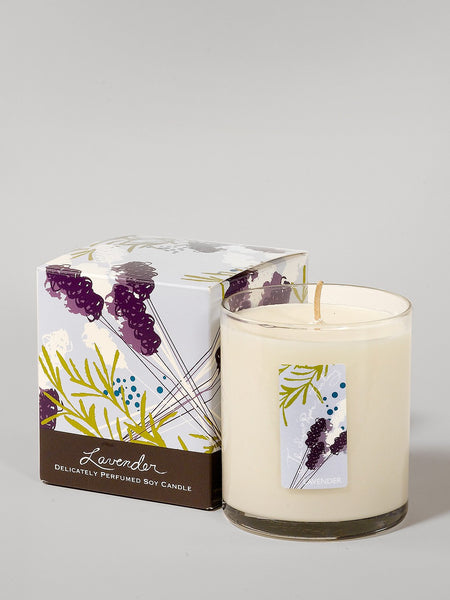9.5 ounce soy candle lavender  is made in the U.S.A. is made in small batches has a calming aroma.