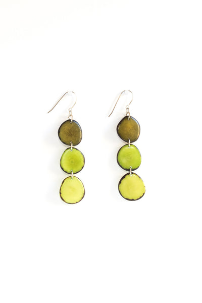 Aurora earrings bamboo are sustainably made fair trade green-brown earrings made of polished tagua seed from South American rainforests.