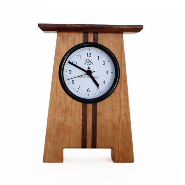 Sabbath Day Woods Asheville craftsman desk clock. Sustainable Cherry and walnut.  Arts and crafts movement. Front view.