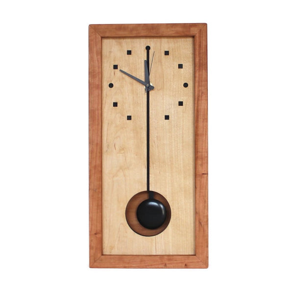 Sabbath Day Woods tall wooden box clock.  Made of sustainable cherry and maple. Pendulum.