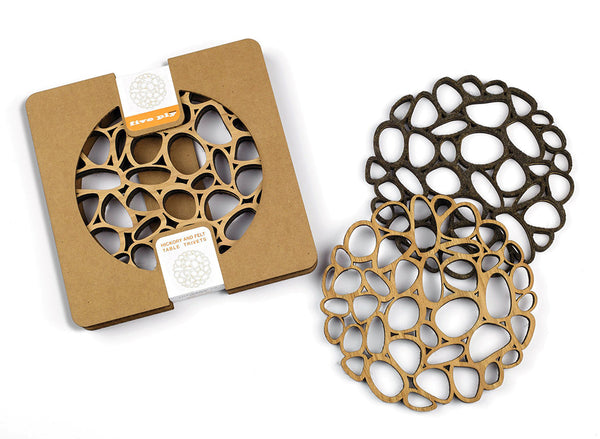Five Ply Design set of 2 laser cut trivets pebbles