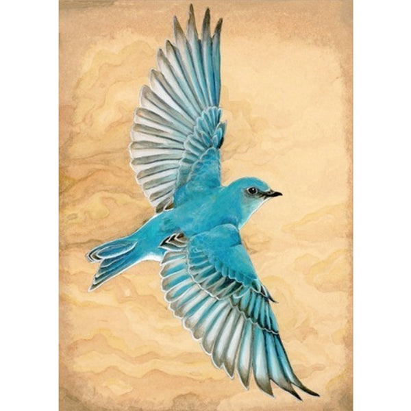 Mountain Bluebird Print by Amy Rose Moore.  From original watercolor, gouache and ink painting.