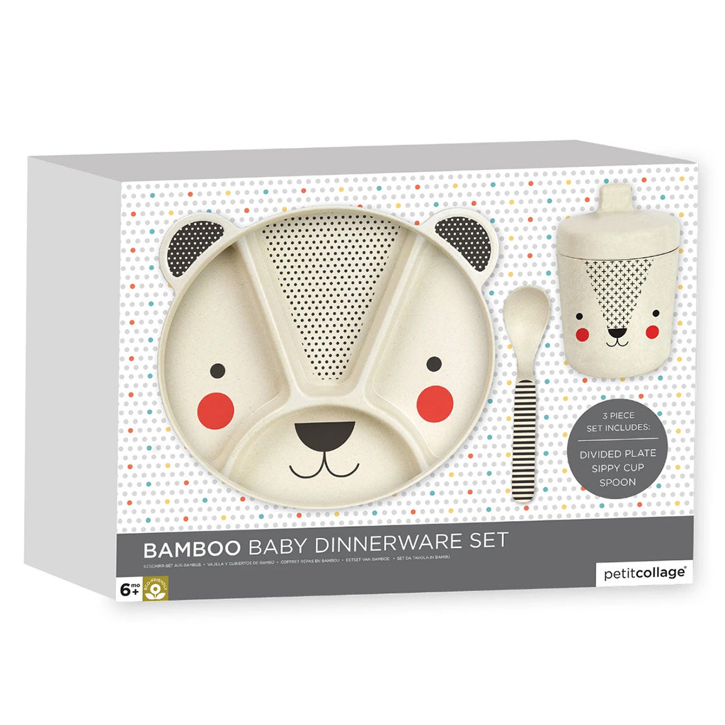 Petit Collage 3 piece bear mealtime set in box