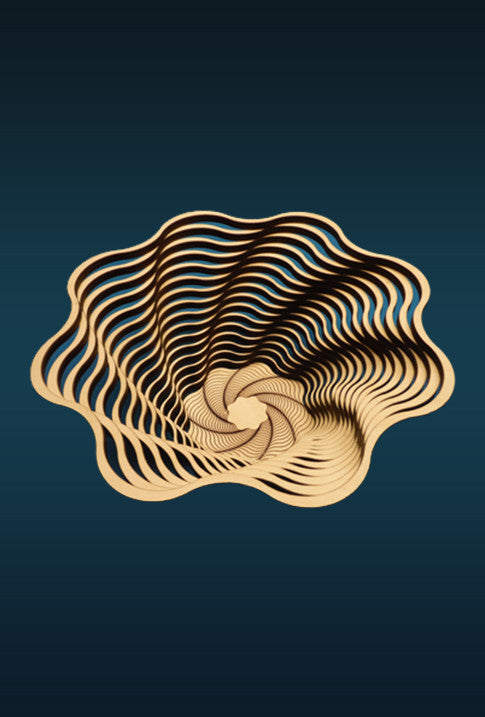The Baltic by Design fifteen inch spiral bowl is a laser cut birch bowl made in the U.S.A. that makes a great hostess or housewarming gift.