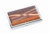 Davin and Kesler business card case in brushed steel and cocobolo rosewood inlay