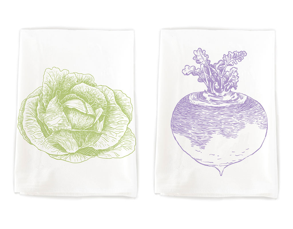 Cabbage and turnip cotton towel pair by Rigel Stuhmiller