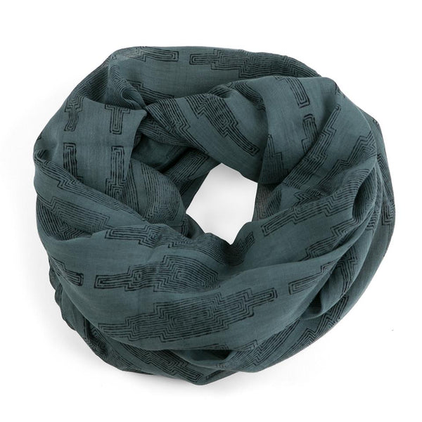 Graymarket  cali bay themed scarf. 100% cotton. overhead view