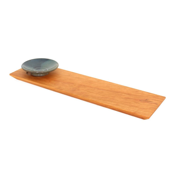 Sabbath Day Woods Cherry bread board with blue dipping pottery bowl made of sustainable wild cherry wood.