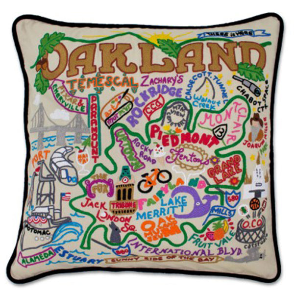 Catstudio hand embroidered Oakland pillow