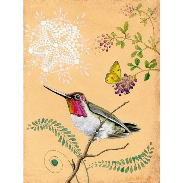 Anna's hummingbird print by Amy Rose Moore.  From original watercolor, gouache and ink painting.