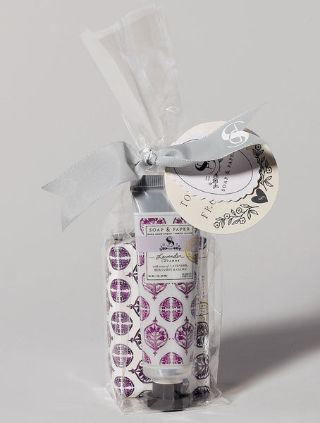 Soap and hand cream set lavender is made in the U.S.A and combines calming lavender hand cream and shea butter soap.