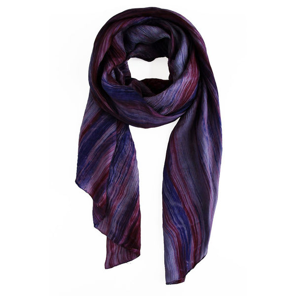 lua watercolor silk scarf purple plum.  hand woven.