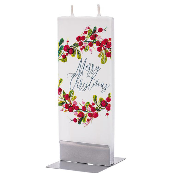 Flatyz handmade candle merry Christmas leaf with berries