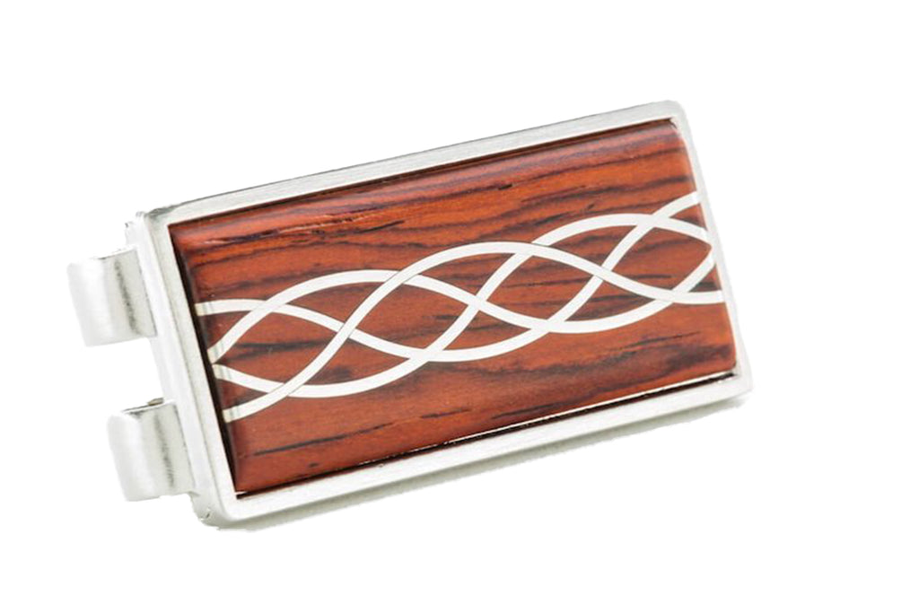 Davin and Kesler money clip in bushed steel and cocobolo rosewood