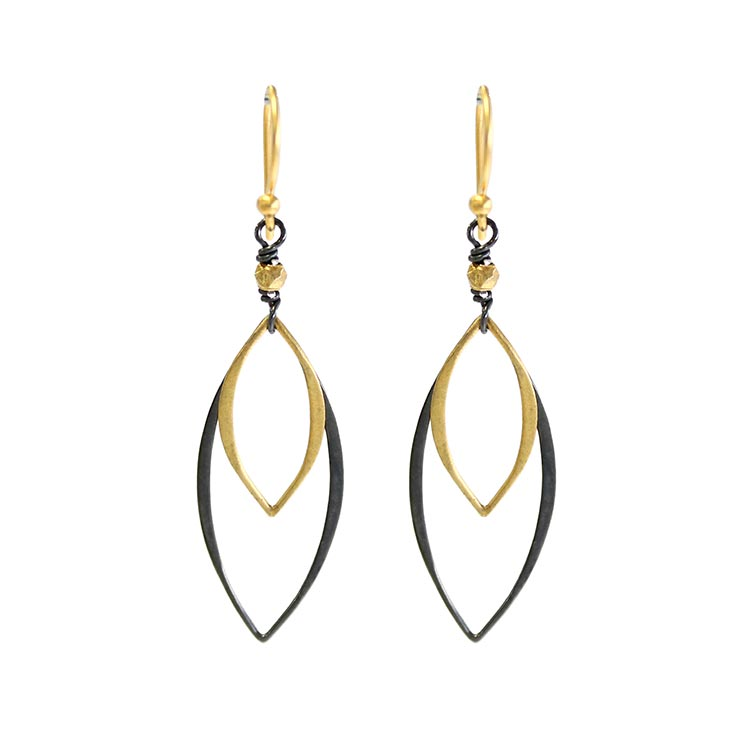 oxidized silver and gold drop earrings by Alicia Van Fleteren