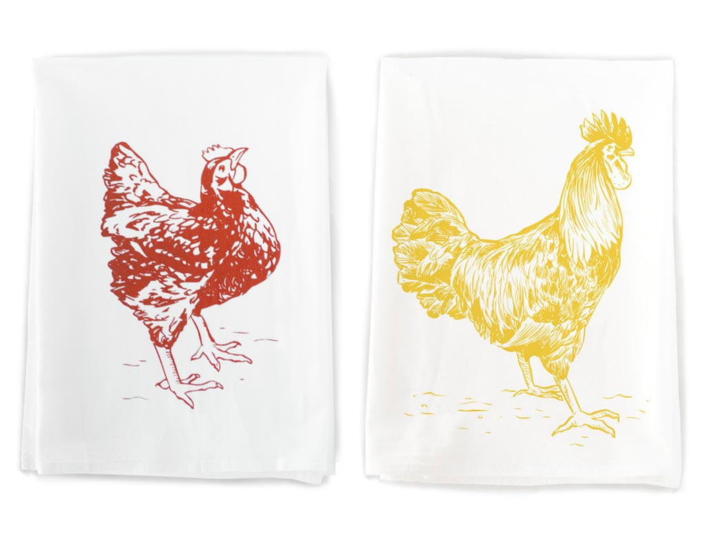 Chickens cotton towel pair by Rigel Stuhmiller