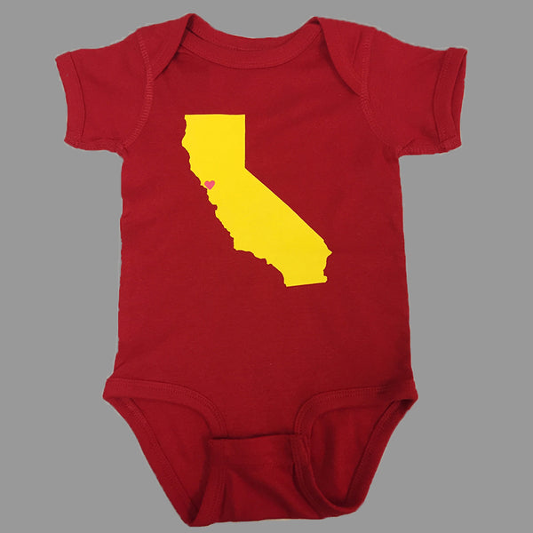 red onesie with California map on it