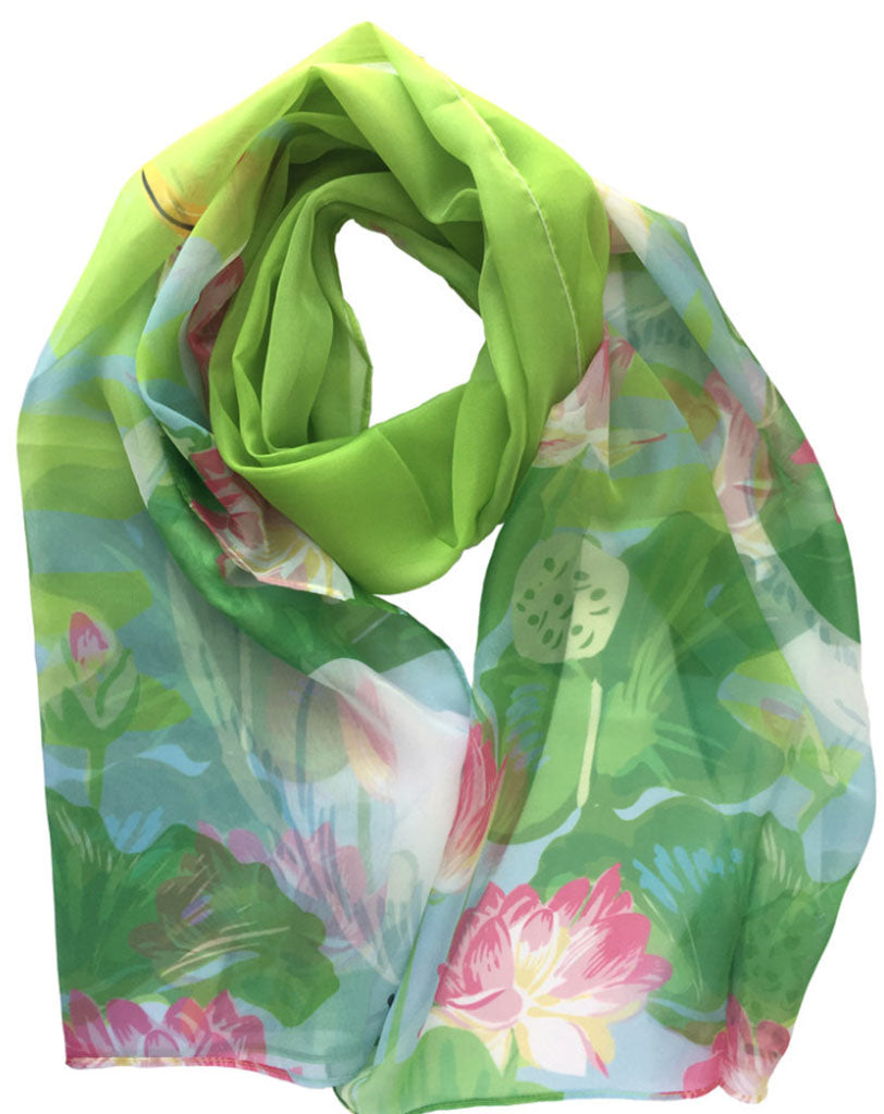 Rigel Stuhmiller egret and lotus scarf