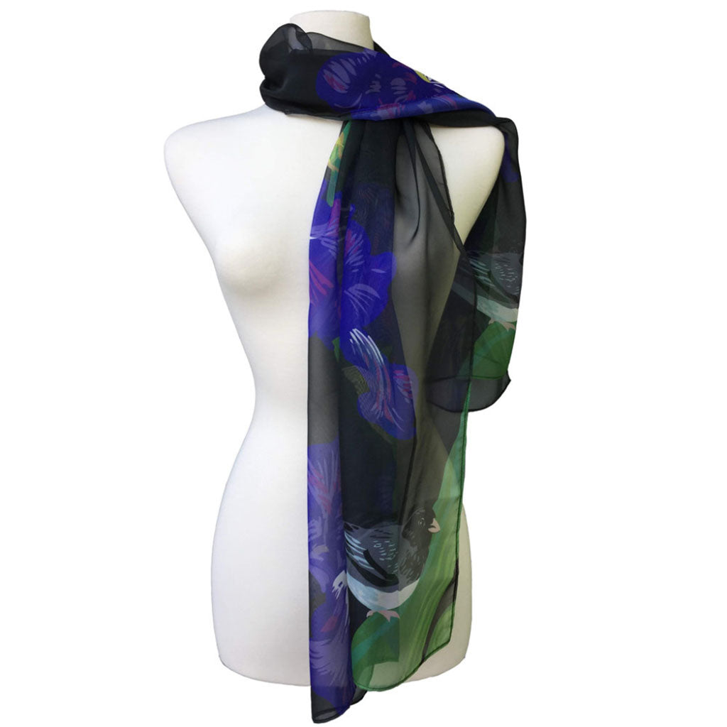 Rigel Stuhmiller iris and junco scarf on mannequin