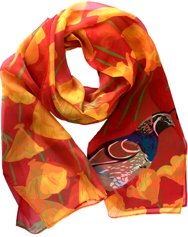 Rigel Stuhmiller poppy and quail scarf