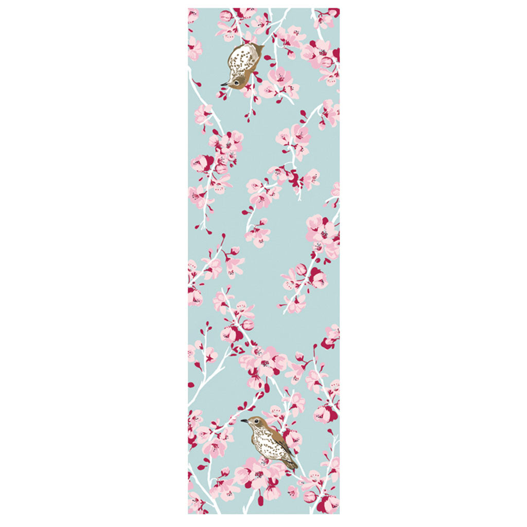 Rigel Stuhmiller wood thrush and cherry blossom scarf detail