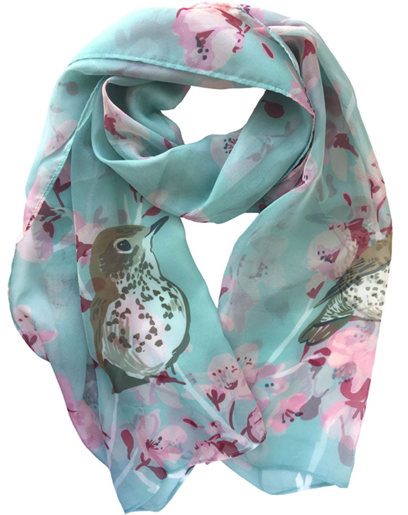 Rigel Stuhmiller wood thrush and cherry blossom scarf