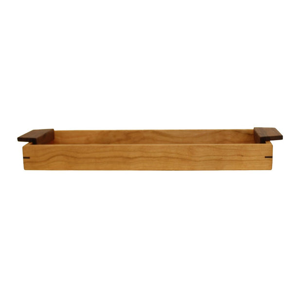 Sabbath Day Woods cherry and walnut small urban tray. Front view