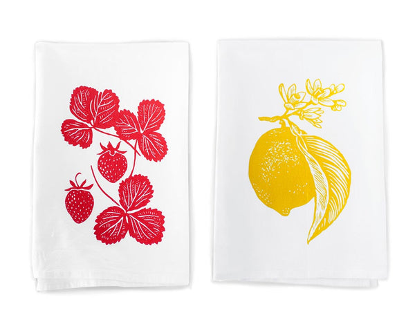 Strawberry and lemon cotton towel pair by Rigel Stuhmiller